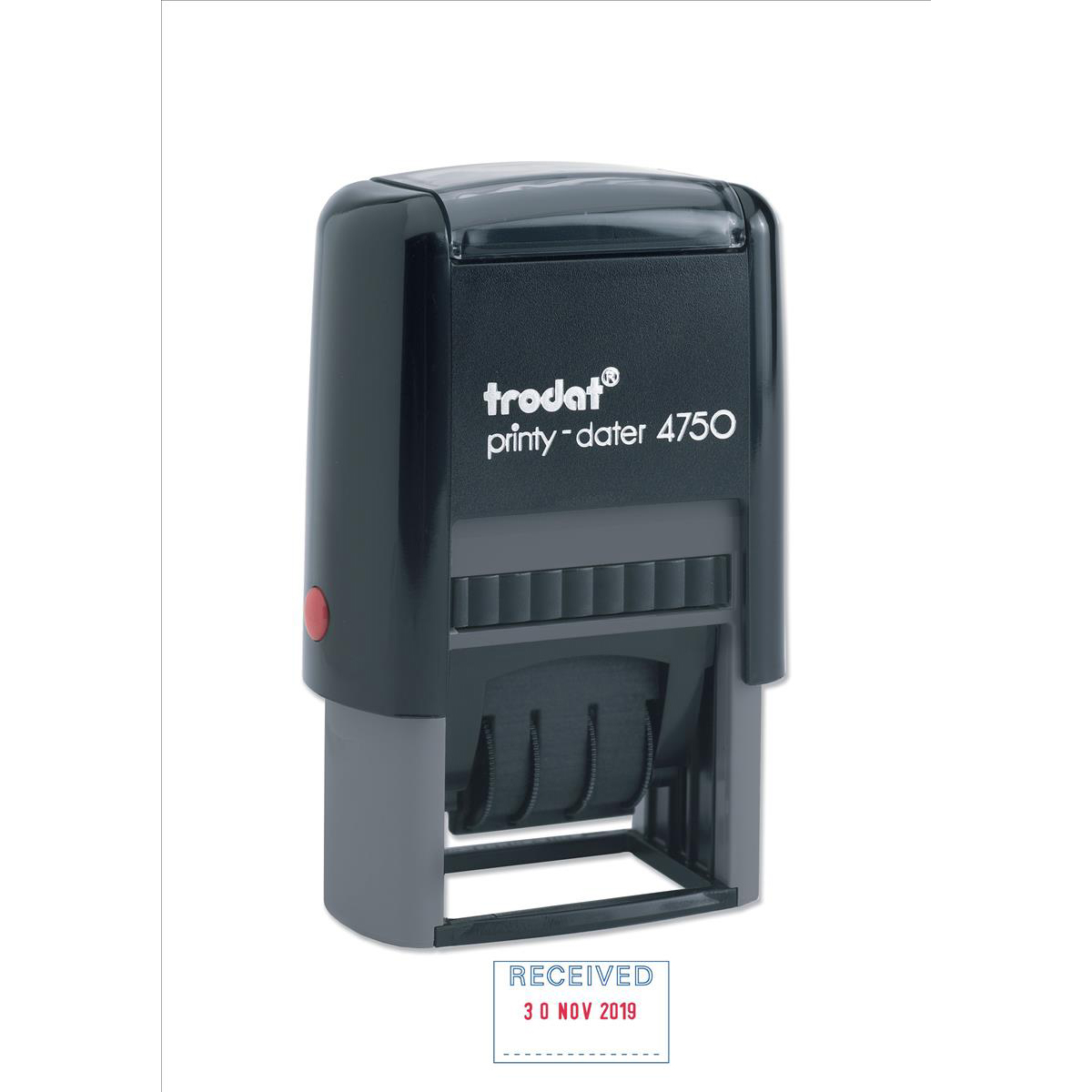 Trodat Printy 4750/L1 Dater Stamp Textplate Received in Blue Date in Red Ref 64280
