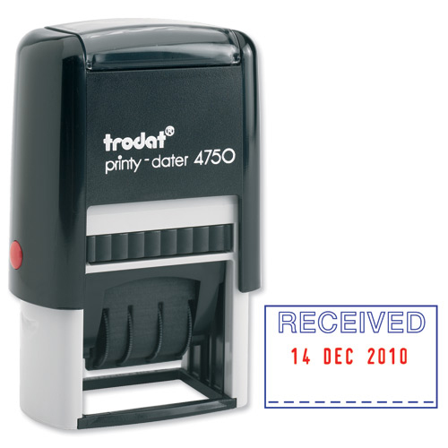 Trodat Printy 4750/L1 Dater Stamp Textplate Received in Blue Date in Red Ref 139923