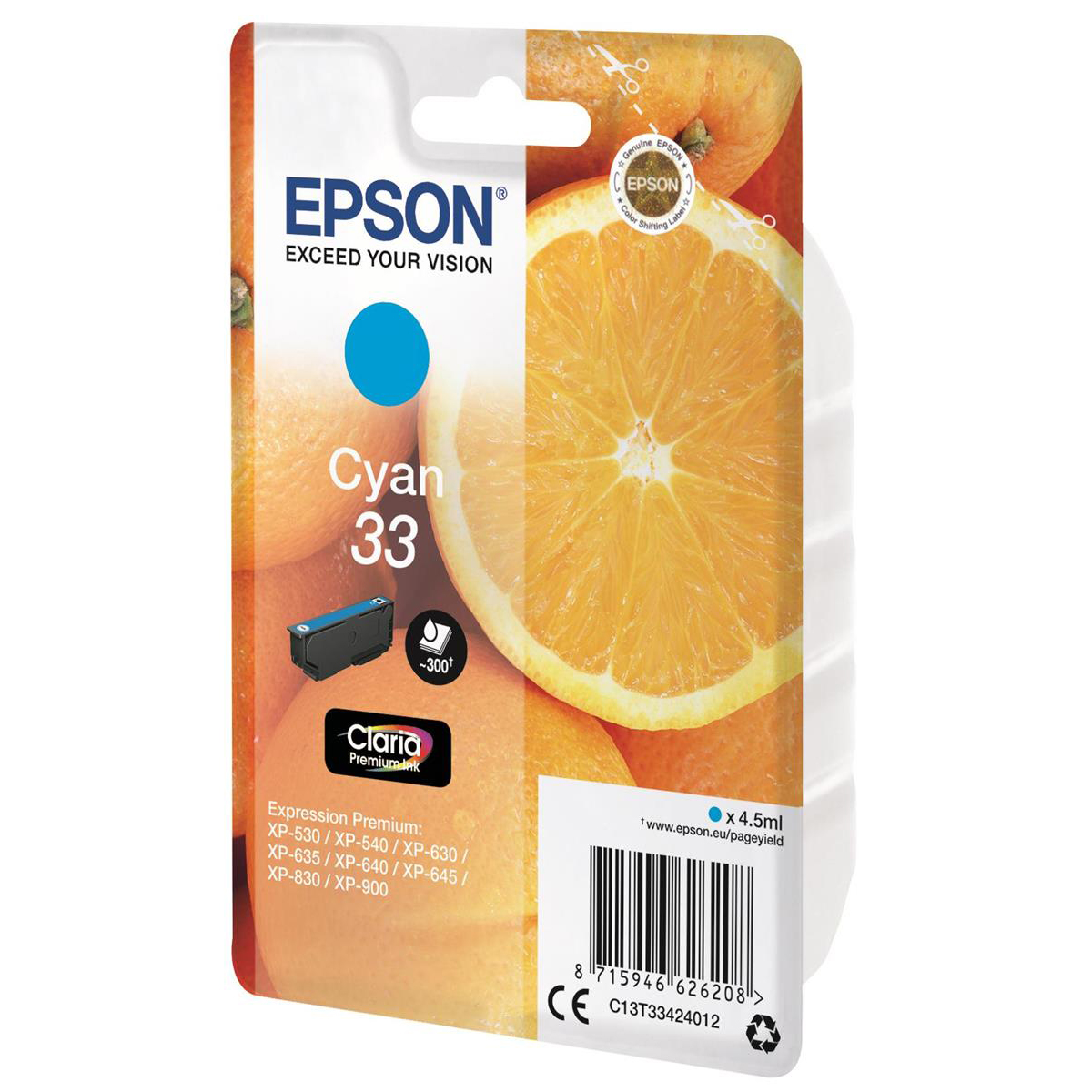 Epson T33 Inkjet Cartridge Orange Page Life 300pp 4.5ml Cyan Ref C13T33424012