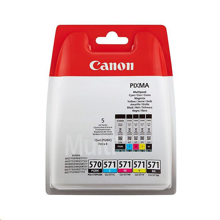 Canon PGI-570/CLI-571 InkJet Cartridge Page Life 1374pp Colour/Black x2 Ref 0372C004 [Pack 5]