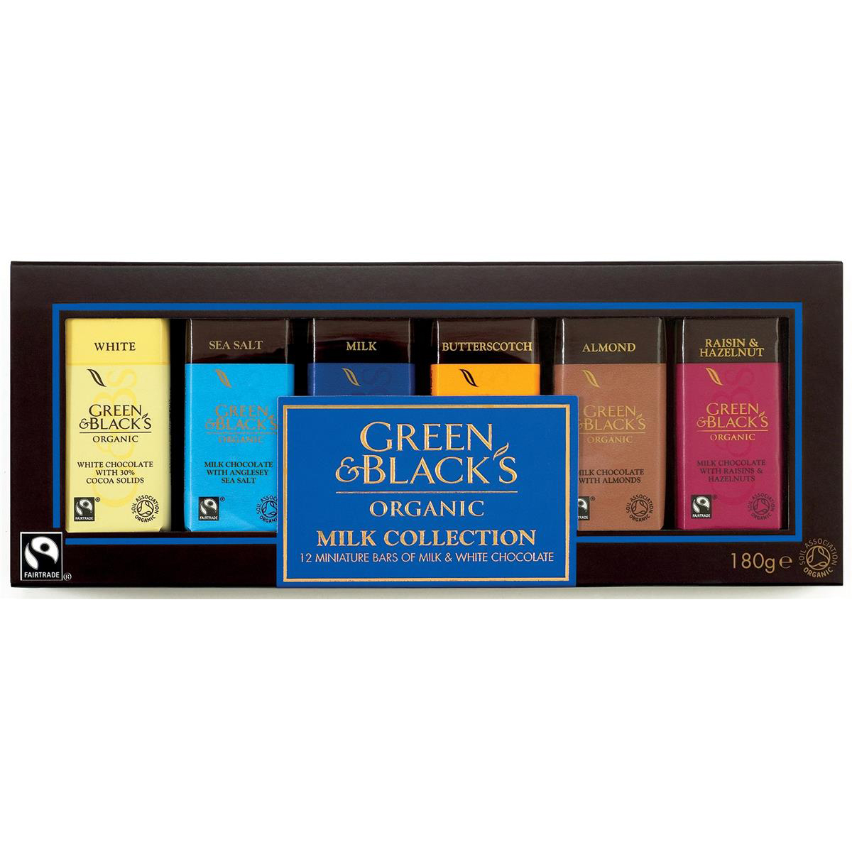 Green & Blacks Organic Chocolate Miniatures Milk Collection Assorted Ref 0401148 Pack 12