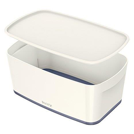 Leitz MyBox Storage Box Small with Lid Plastic W318xD19xH128mm White/Grey Ref 52294001
