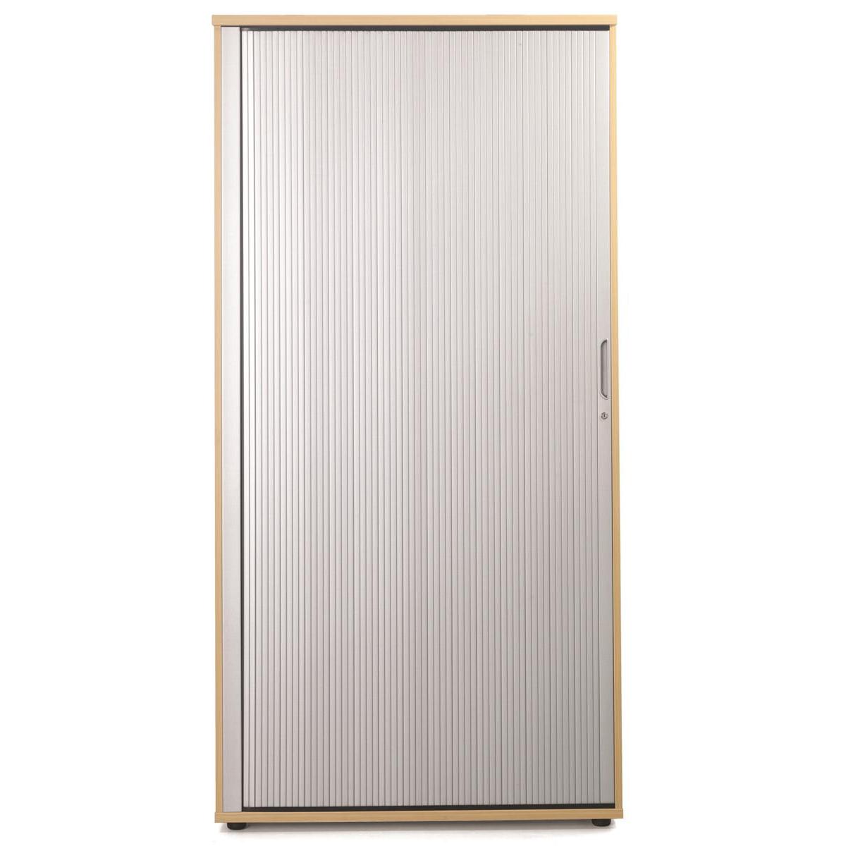 Sonix Tall Tambour Door Cupboard 1000x525x2000mm 1 Shelf Rich Beech/Silver Ref w9871b