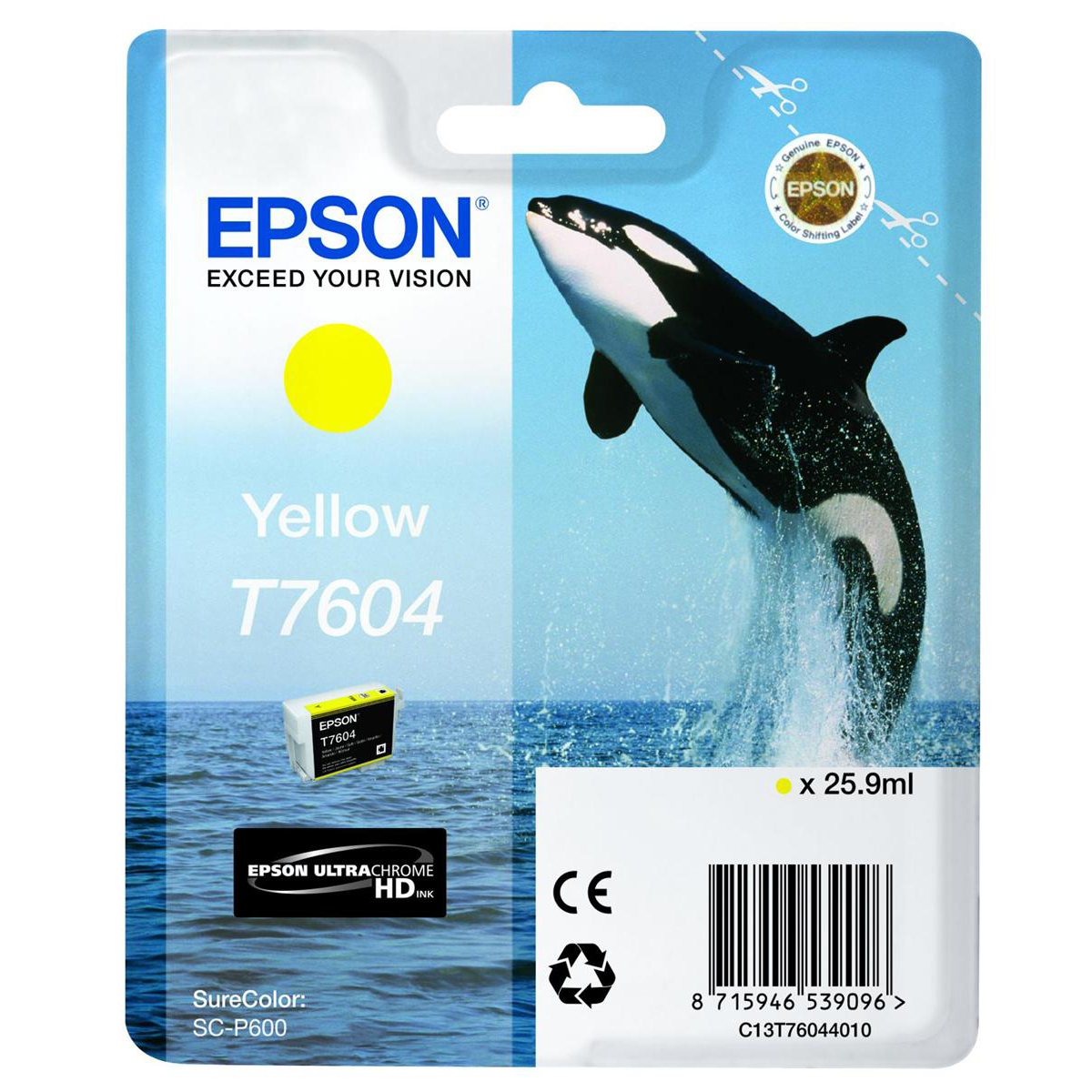 Epson T7604 Inkjet Cartridge Killer Whale Page Life 2100pp 25.9ml Yellow Ref C13T76044010