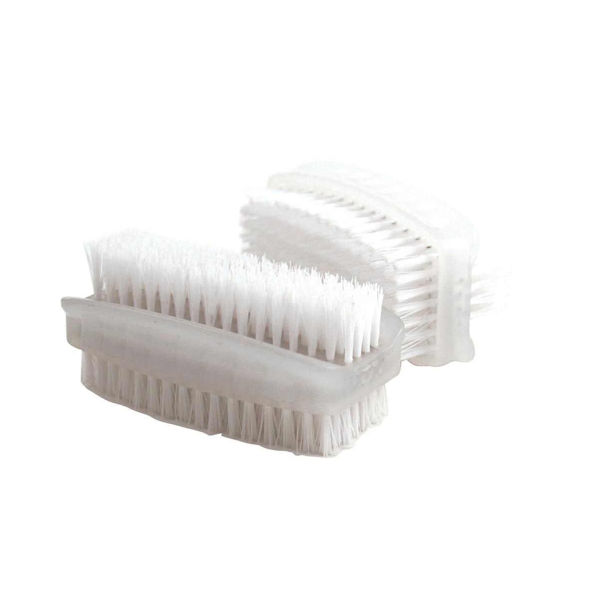 Nail Brush Double Sided Plastic White Pack 2