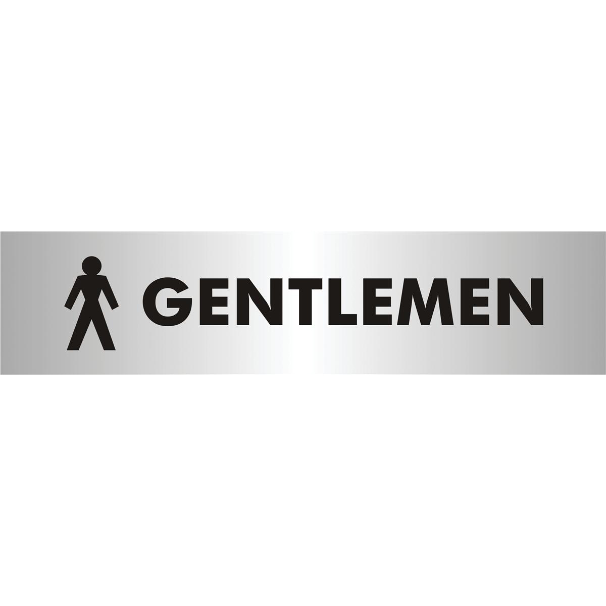 Stewart Superior Gentlemen Sign Brushed Aluminium Acrylic W190xH45mm Self-adhesive Ref bac112