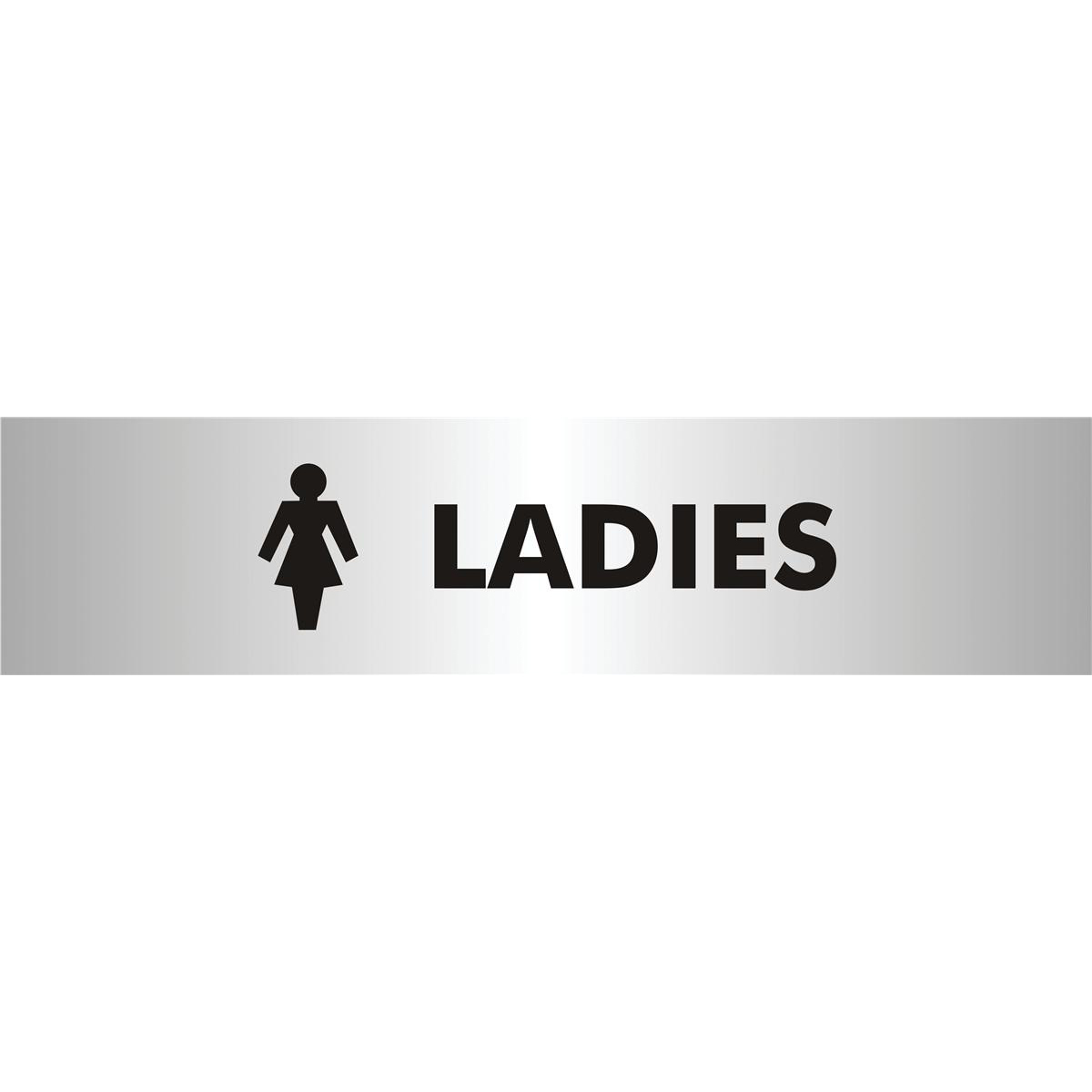 Stewart Superior Ladies Sign Brushed Aluminium Acrylic W190xH45mm Self-adhesive Ref bac113