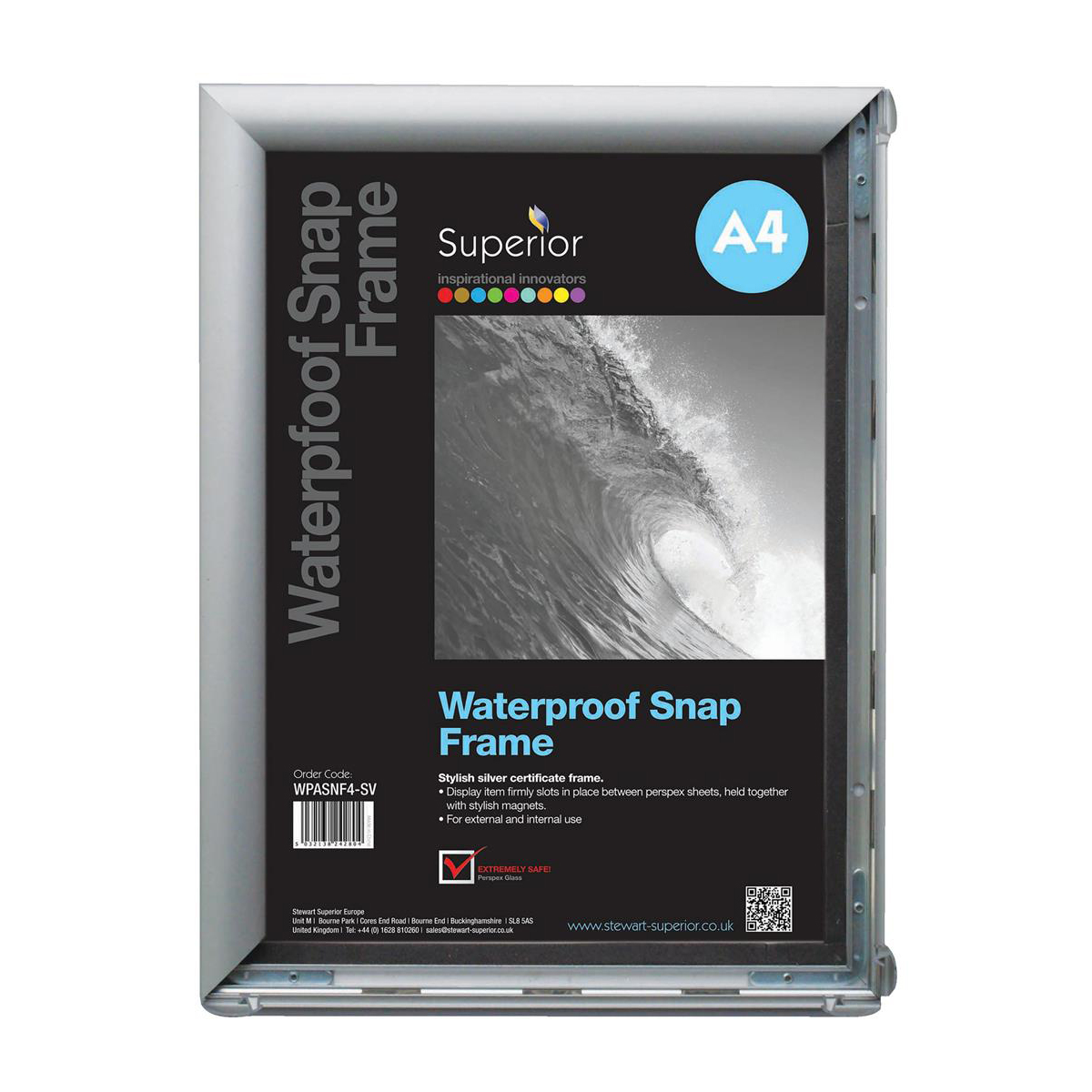 Waterproof Snap Frame PVC Anti-glare Cover Includes Screw Kit Rubber Seal A4 280x30x367mm Silver