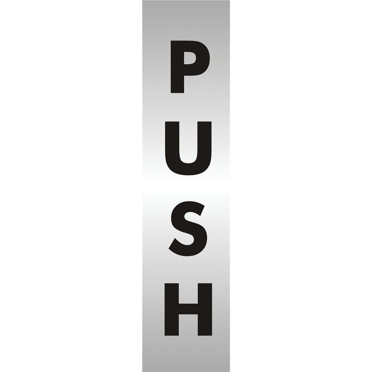 Stewart Superior Push Sign Brushed Aluminium Acrylic W45xH190mm Self-adhesive Ref bac126