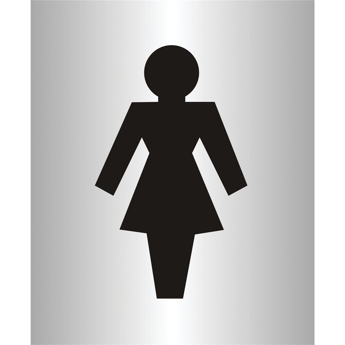 Stewart Superior Ladies Logo Sign Brushed Aluminium Acrylic W115xH150mm Self-adhesive Ref bac105