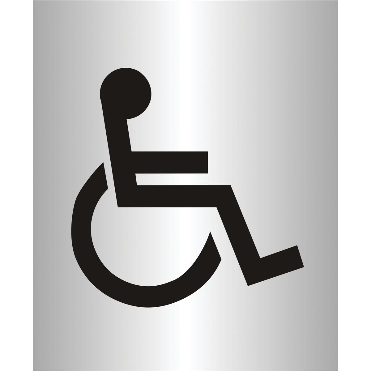 Stewart Superior Disabled Logo Sign Brushed Aluminium Acrylic  W115xH150mm Self-adhesive Ref bac103