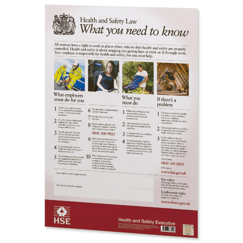 Health and Safety Law HSE Statutory Poster PVC W420xH595mm A2 Framed