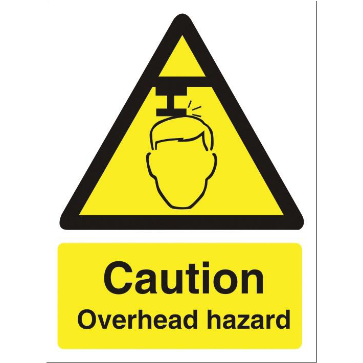 Stewart Superior Caution Overhead Hazard Sign W150xH200mm Self-adhesive Vinyl Ref WO132SAV
