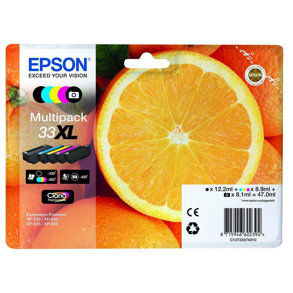 Inkjet Cartridges Epson T33XLInkjetCart OrangeHYBlack12.ml/PhotoBlack 8.1ml/Cyan/Mag/Yellow 8.9ml Ref C13T33574010 Pack 5