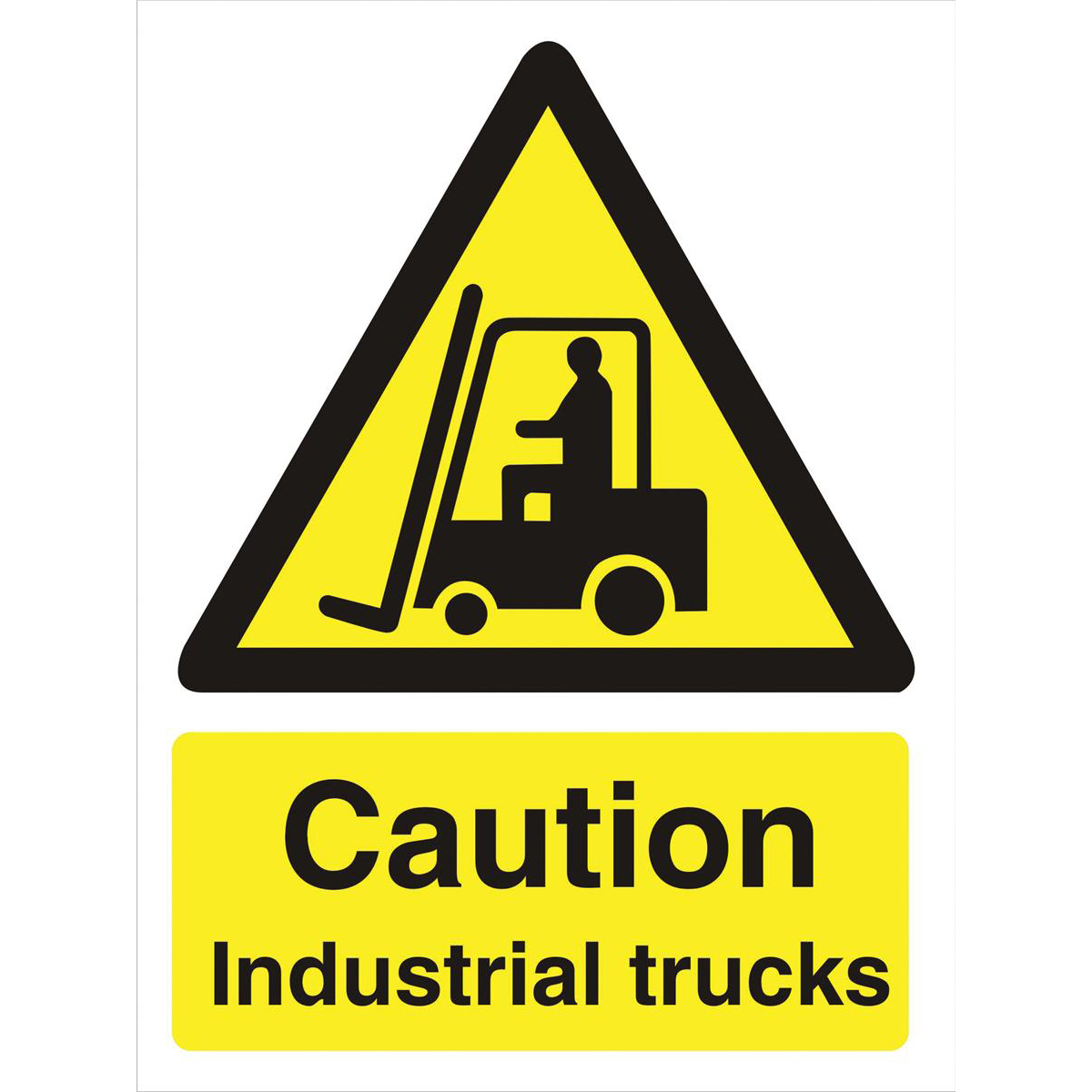 Stewart Superior Caution Industrial Trucks Sign  W150xH200mm Self-adhesive Vinyl Ref WO135SAV