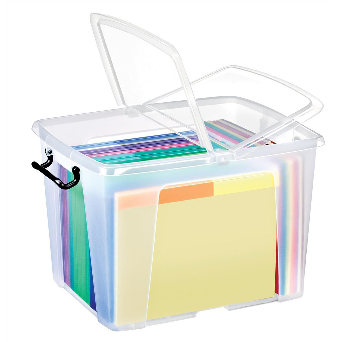 Tool Boxes Strata Smart Box Clip-On Folding Lid Carry Handles 40 Litre Clear Ref HW674CLR