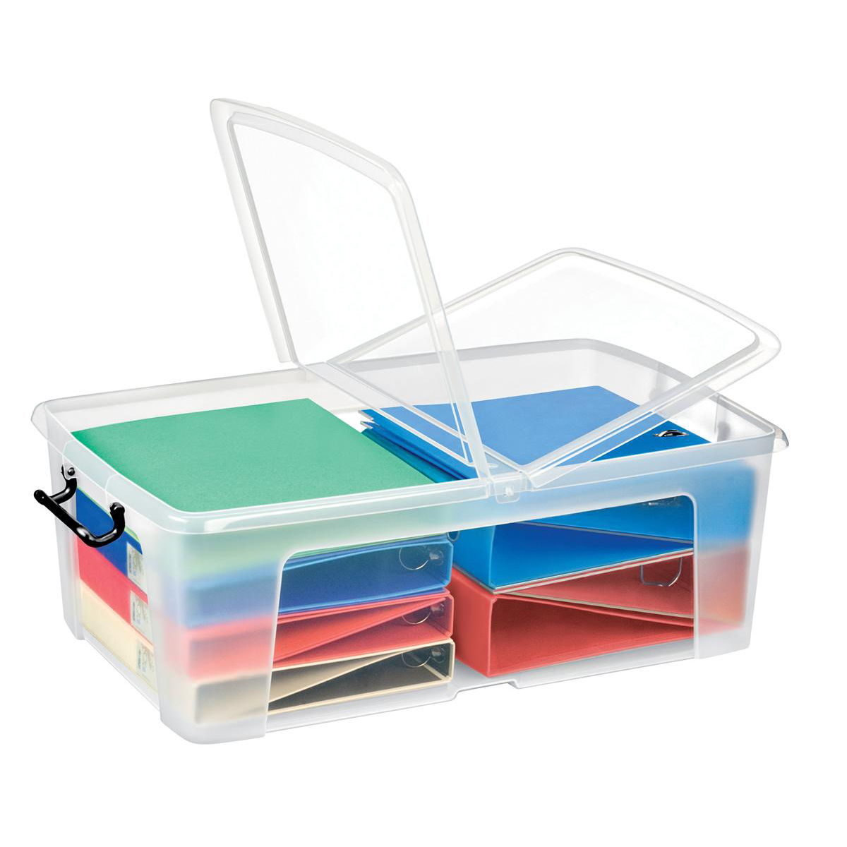 Tool Boxes Strata Smart Box Clip-On Folding Lid Carry Handles 50 Litre Clear Ref HW675CLR