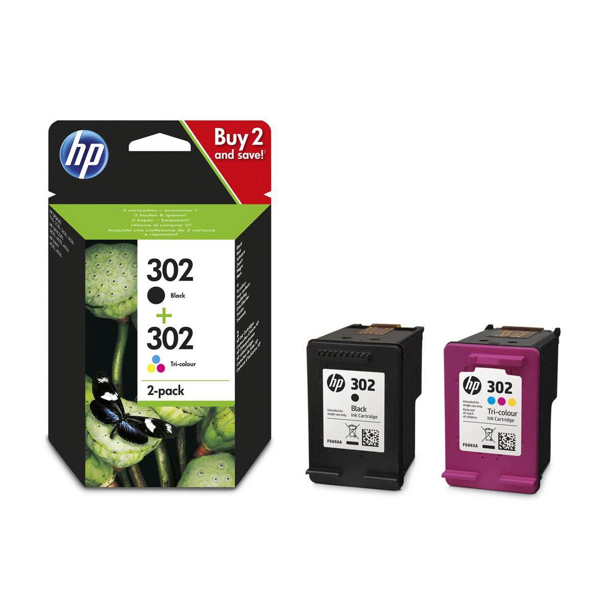 Hewlett Packard [HP] No.302 Inkjet Cart Black 190pp 3.5ml & Tri-colour 165pp 4ml Ref X4D37AE [Pack 2]