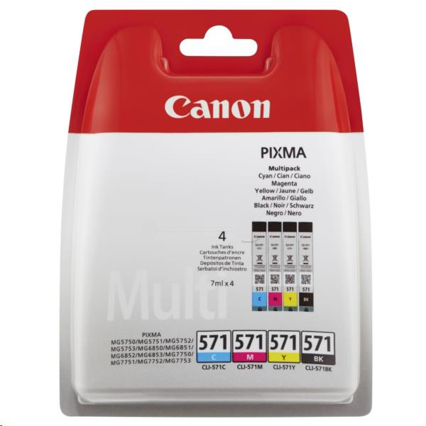 Canon CLI-571 Inkjet Cartridges Page Life 349pp 7ml Cyan/Magenta/Yellow/Black Ref 0386C005 Pack 4
