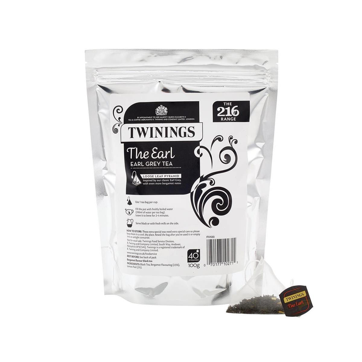 Twinings Tea Luxury Pyramid Teabags The Earl Pouch Ref 0403303 40 Bags
