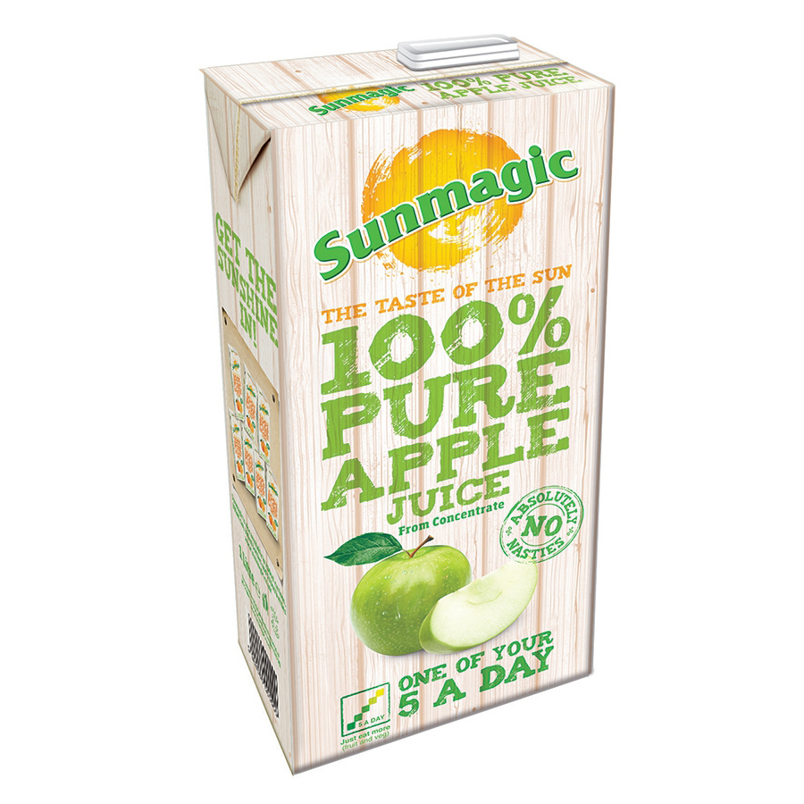 Sunmagic Pure Apple Juice Drink Tetra Pak Slim 1 Litre Ref 471021 [Pack 12]