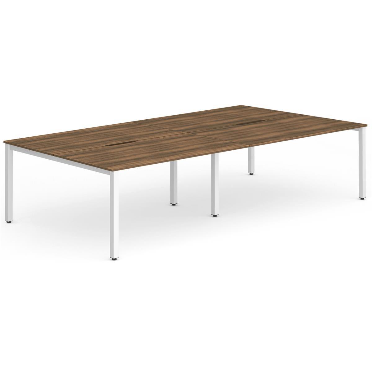 Trexus Bench Desk 4 Person Back to Back Configuration White Leg 2800x1600mm Walnut Ref BE234