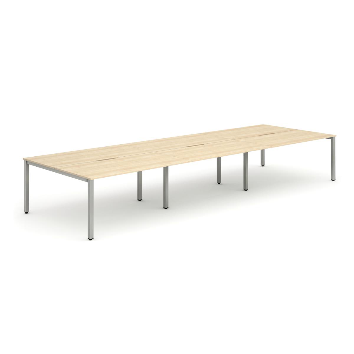 Trexus Bench Desk 6 Person Back to Back Configuration Silver Leg 3200x1600mm Maple Ref BE286