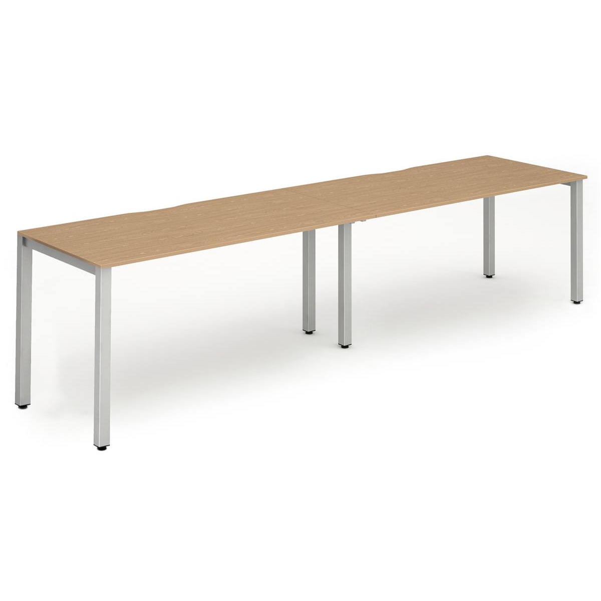 Trexus Bench Desk 2 Person Side to Side Configuration Silver Leg 2400x800mm Oak Ref BE378