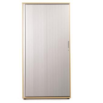 Sonix Tall Tambour Door Cupboard 1000x525x2000mm 1 Shelf Natural Oak/Silver Ref w9871o