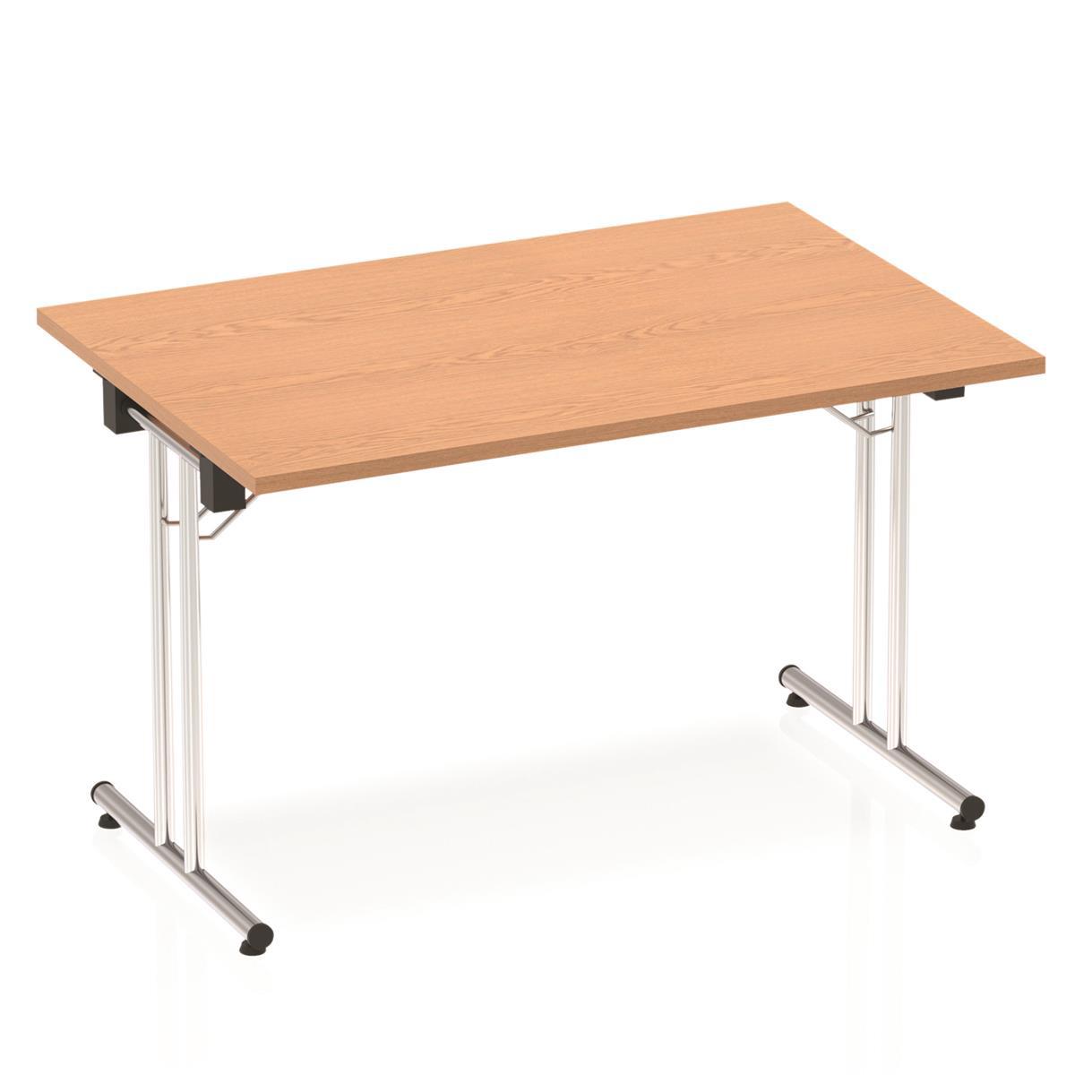 Sonix Rectangular Chrome Leg Folding Meeting Table 1200x800mm Oak Ref I000796