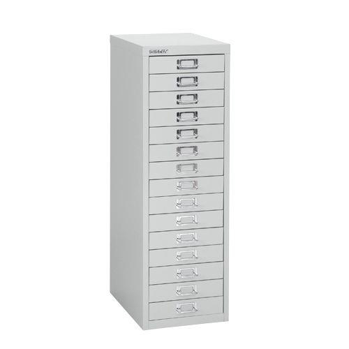 Bisley SoHo 15 Draw Multidrawer 279x380x860mm Silver Ref H3915NL-arn