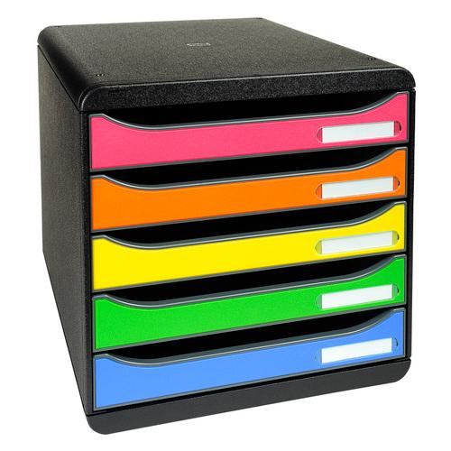 Exacompta Big Box Plus 5-Drawer Storage Set Stackable A4plus Harlequin Ref 309798D