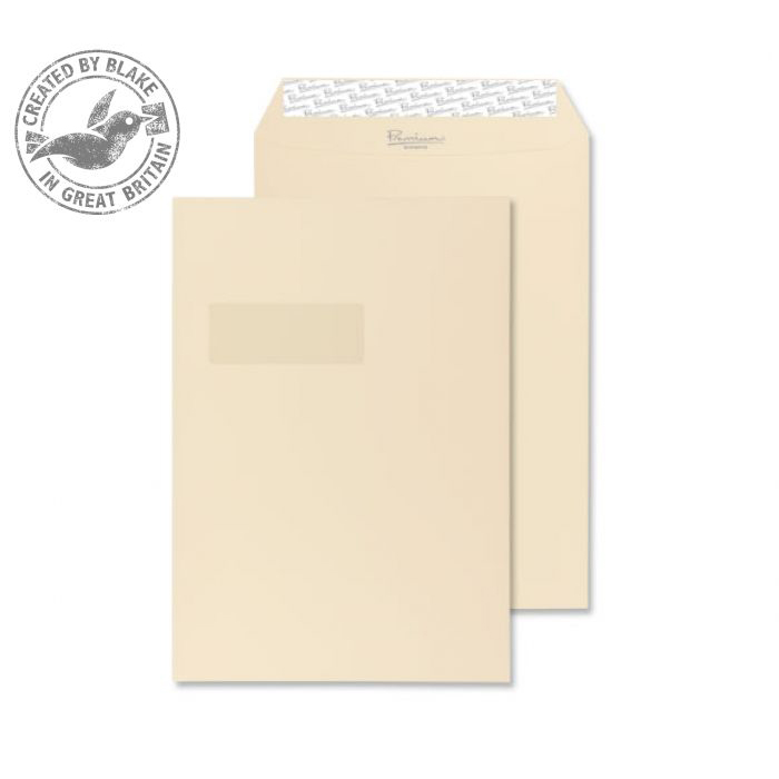 Purely Packaging Envelope Gusset P&S 140gsm C4 Window Cream Ref 9401W Pack 125 *10 Day Leadtime*