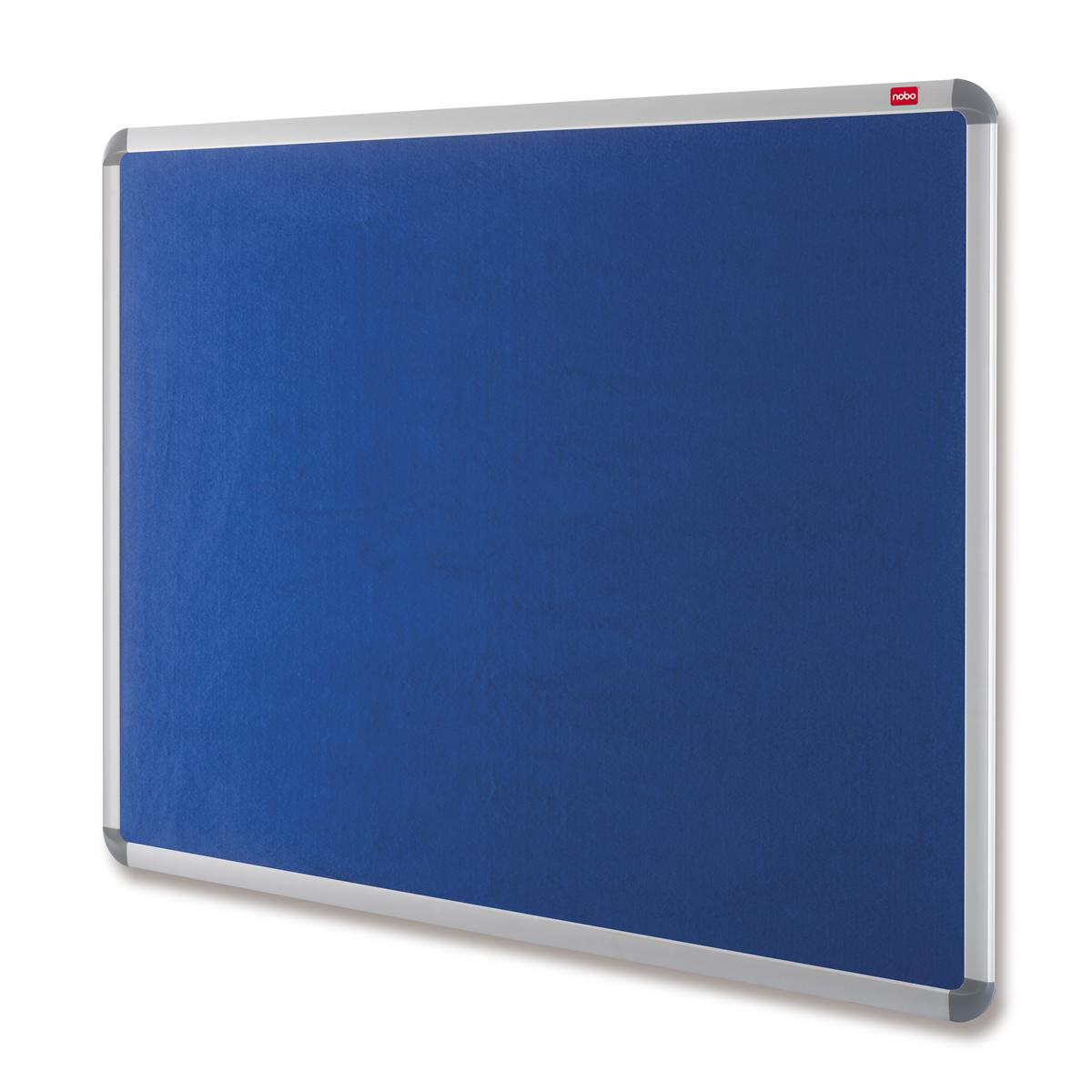 Nobo Prestige Felt Noticeboard with Fixings and Aluminium Frame W900xH600mm Blue Ref 30230174