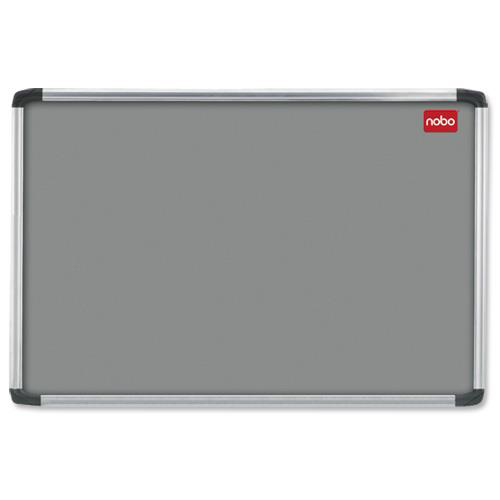 **Nobo EuroPlus Felt Noticeboard with Fixings and Aluminium Frame W1200xH900mm Grey Ref 30230158
