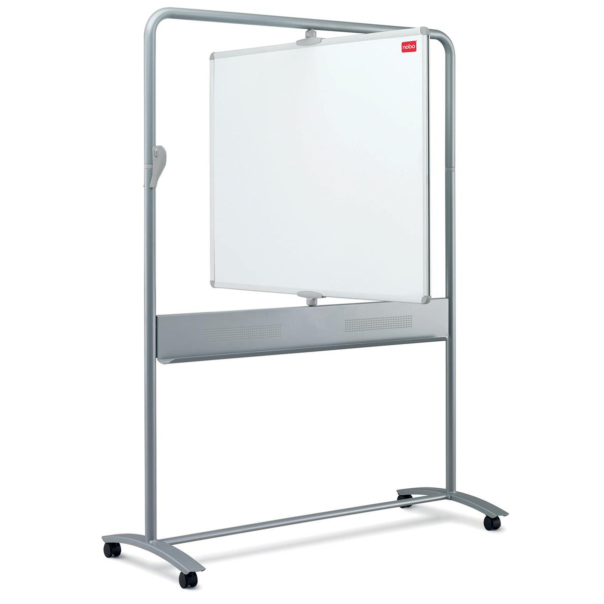 Nobo Mobile Whiteboard Easel Magnetic Steel Vertical Pivot W1200xH900mm Board Ref 1901030