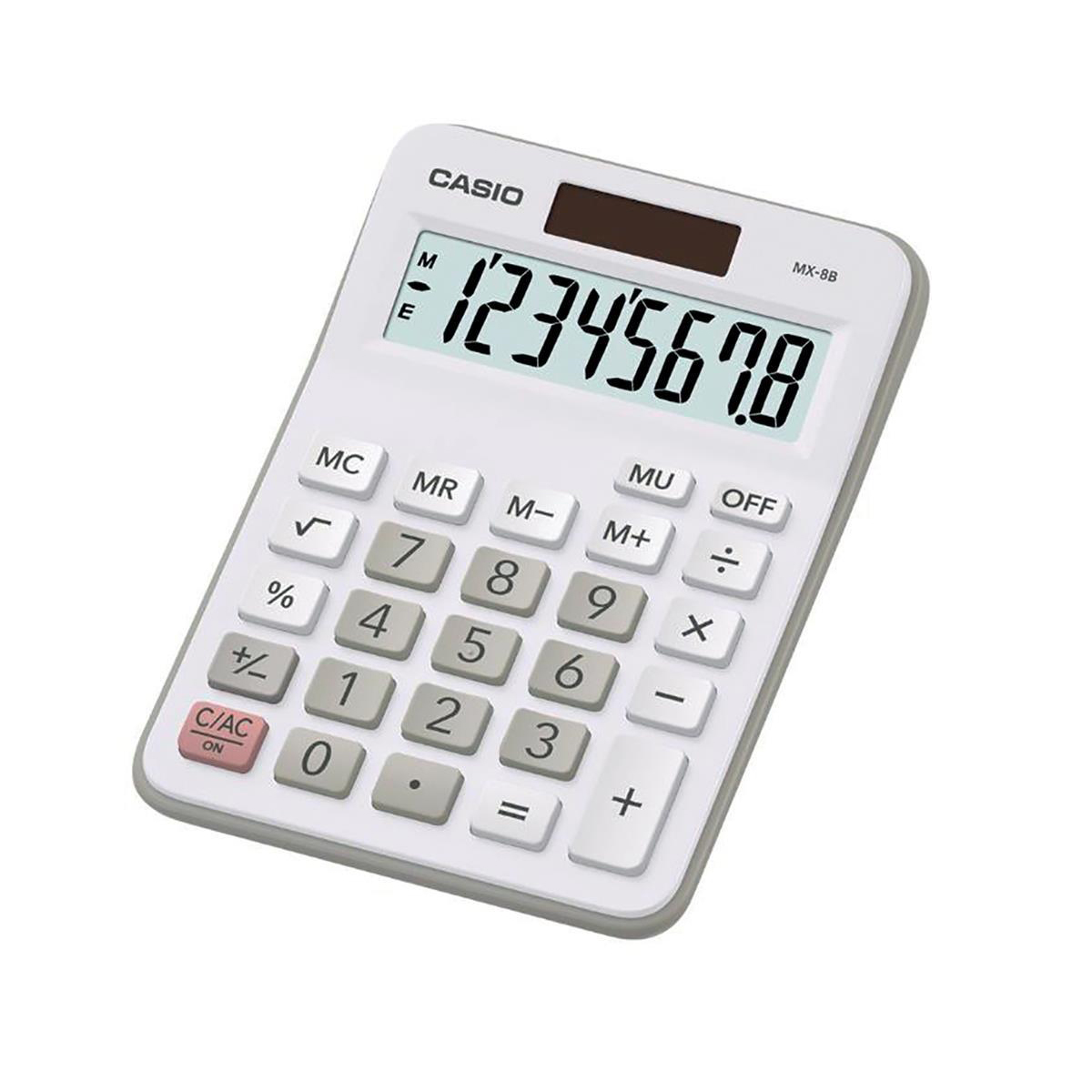 Desktop Calculator Casio Desktop Calculator 8 Digit 4 Key Memory Battery/Solar Power 103x31x137mm Silver Ref MX-8B-WE