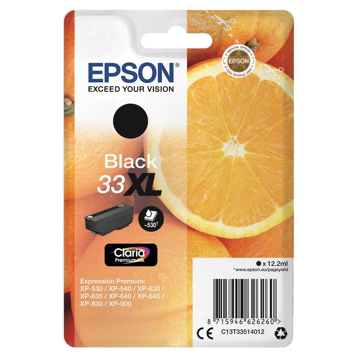 Epson T33XL Inkjet Cartridge Orange High Yield Page Life 530pp 12.2ml Black Ref C13T33514012