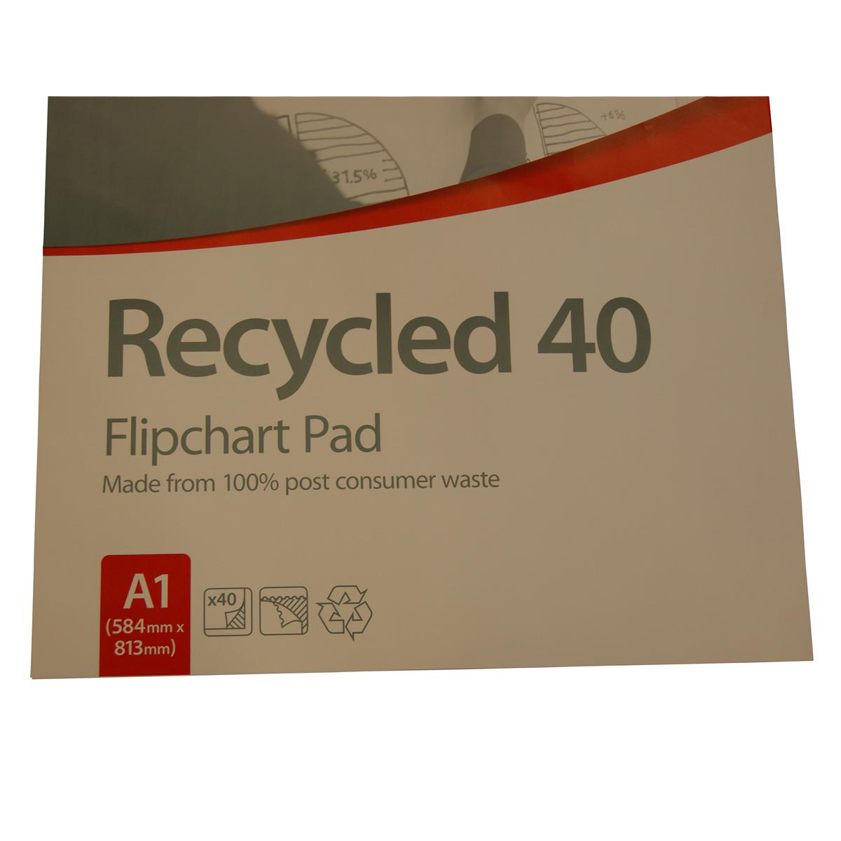 Nobo Recycled Flipchart Pad Perforated 40 Sheets 70gsm A1 Plain Ref 34631178 [Pack 5]