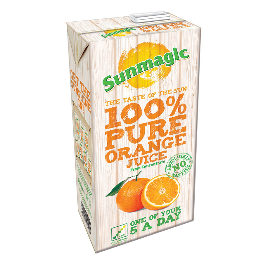 Sunmagic Pure Orange Juice Drink From Concentrate Tetra Pak Slim Carton 1 Litre Ref 471011 [Pack 12]