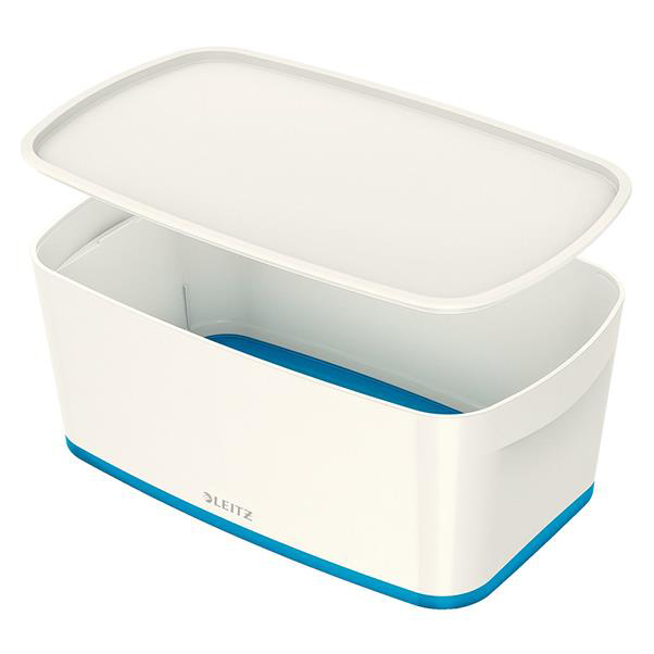 Leitz MyBox Storage Box Small with Lid Plastic W318xD19xH128mm White/Blue Ref 52294036