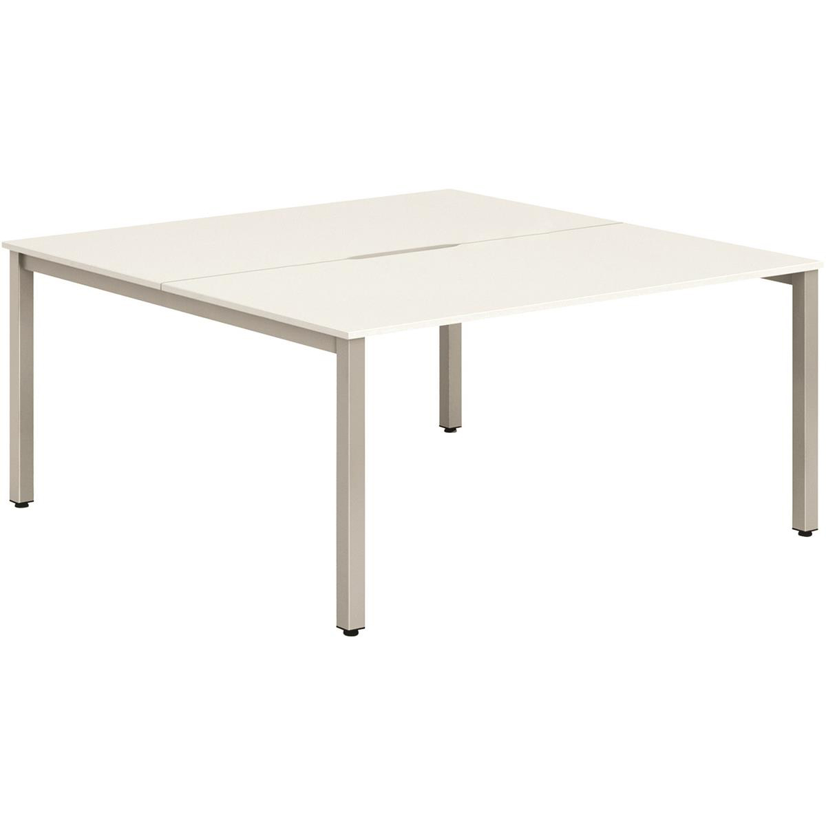Trexus Bench Desk 2 Person Lockable Sliding Top 1400mm White with Silver Frame