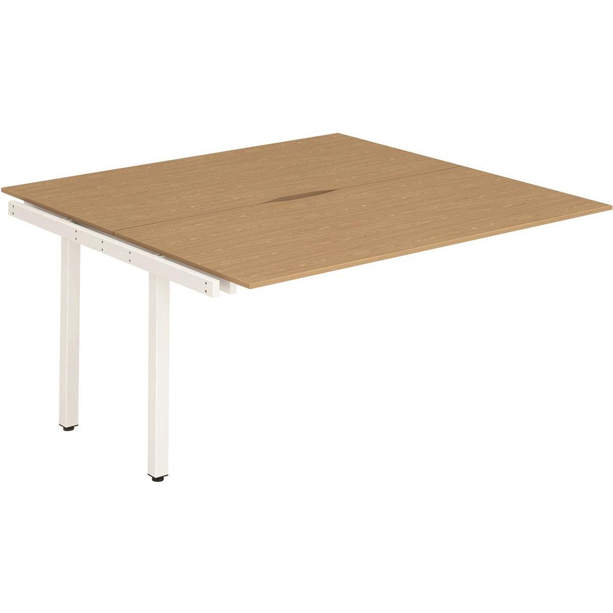 Trexus Bench Desk Double Extension Back to Back Configuration White Leg 1400x1600mm Oak Ref BE193