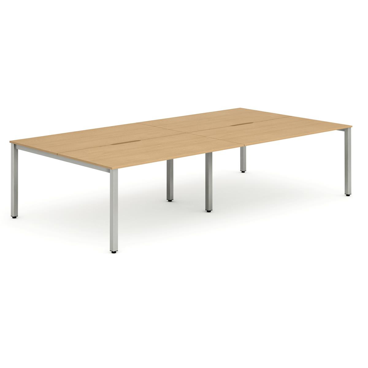 Trexus Bench Desk 4 Person Back to Back Configuration Silver Leg 3200x1600mm Beech Ref BE252