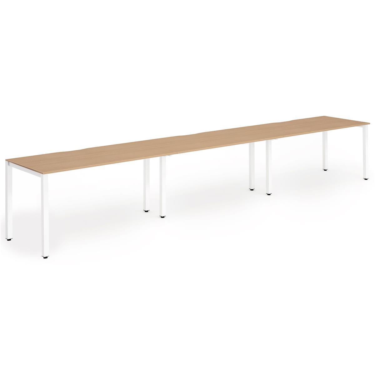 Trexus Bench Desk 3 Person Side to Side Configuration White Leg 3600x800mm Oak Ref BE398