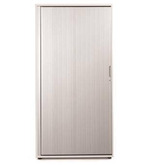 Sonix Tall Tambour Door Cupboard 1000x525x2000mm 1 Shelf Polar White/Silver Ref w9871wh