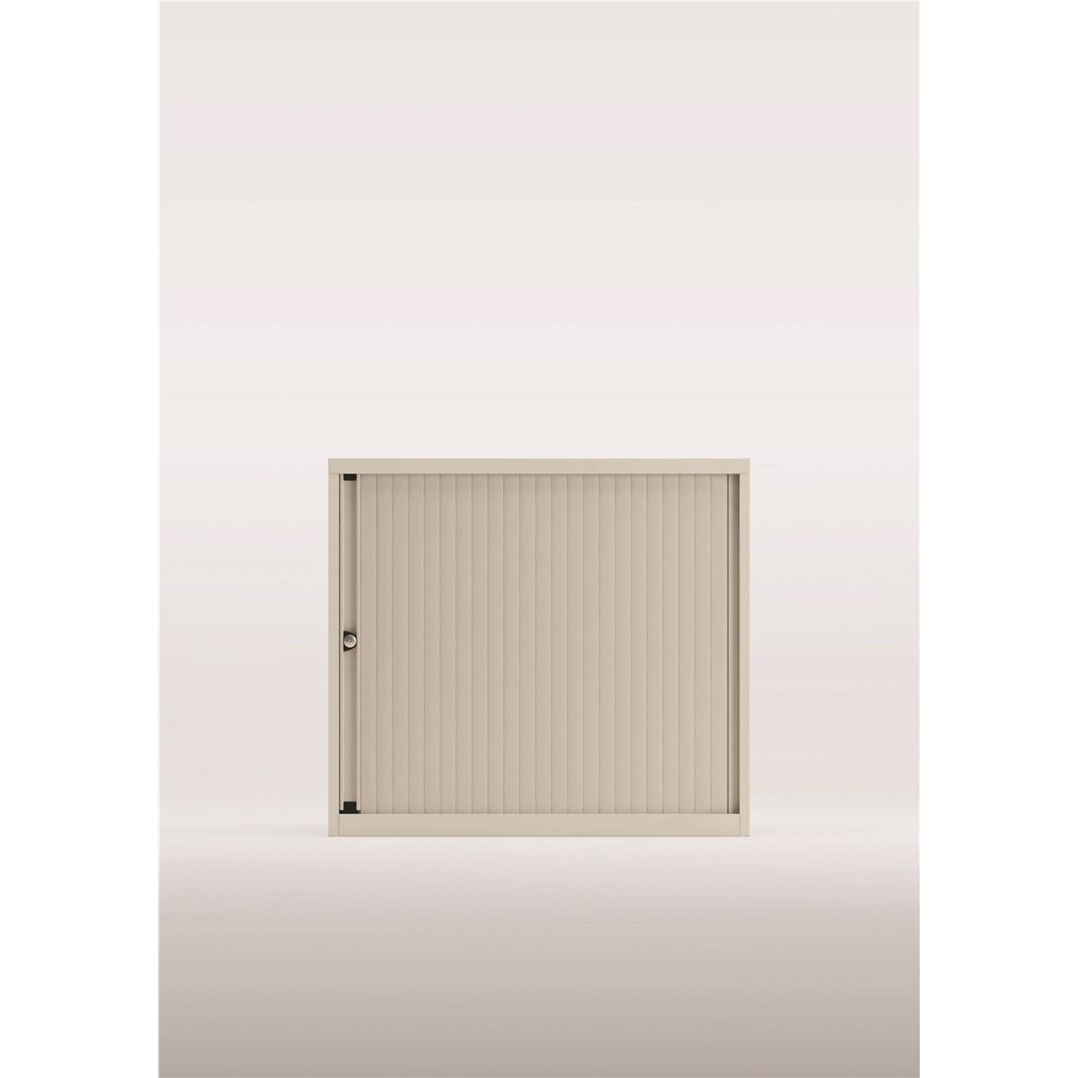 Storage cabinets Bisley Desk High Tambour Door Cupboard 800x470x693-708mm White/Silver Ref YETBDH0807/1S.SL-ab9