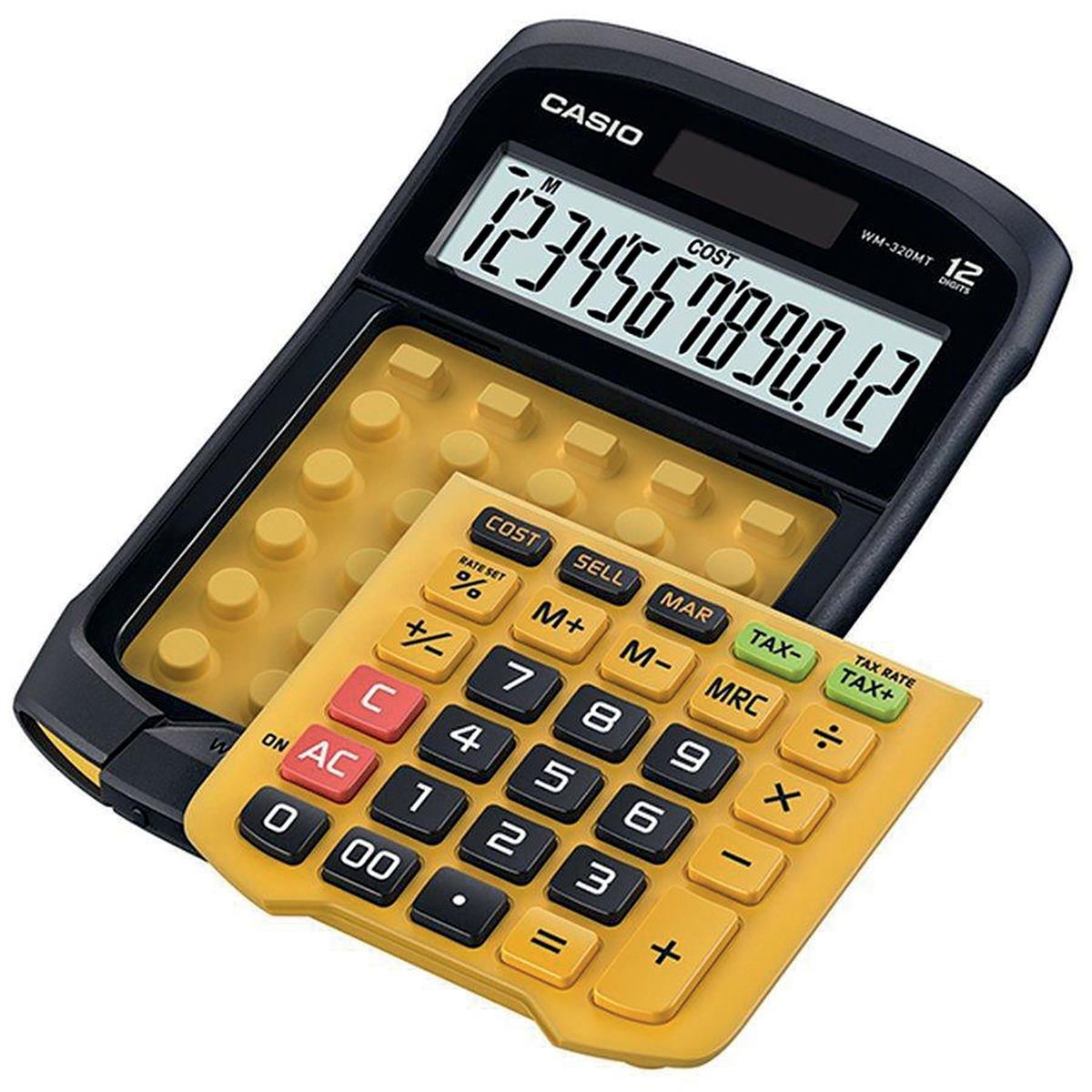 Casio Waterproof Calculator 12 Digit 3 Key Memory Battery/Solar 109x33x169mm Black/Yellow Ref WM-320MT