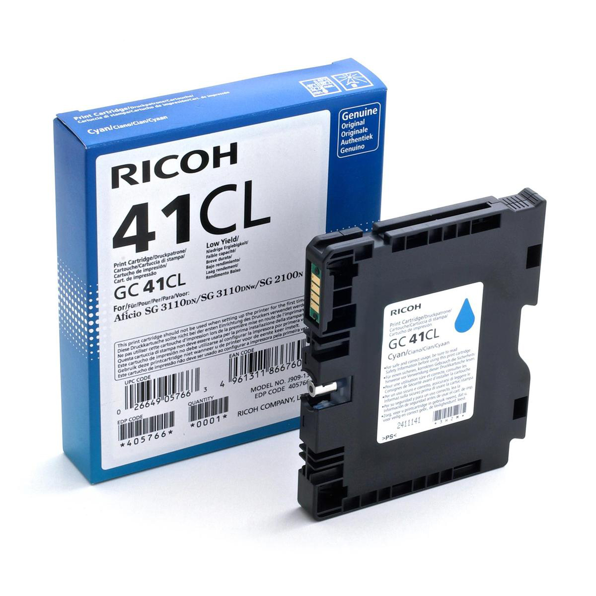 Ricoh GC-41 Toner Cartridge Page Life 600pp Cyan Ref 405766