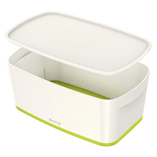 Leitz MyBox Storage Box Small with Lid Plastic W318xD19xH128mm White/Green Ref 52294064